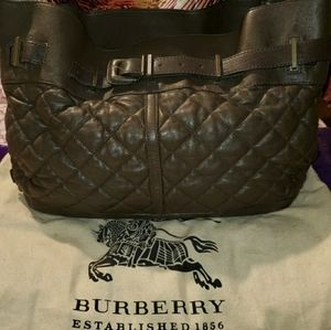 Burberry Enmore Quilted Brown Leather Bag